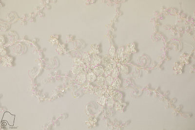 Sequin Lace Fabric By The Yard Double Border Floral Shimmering (Ivory)