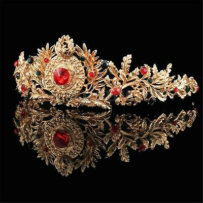 Baroque Gold Bridal Tiara Crystal Prom Pegeant Crown Headband  Hair Accessories