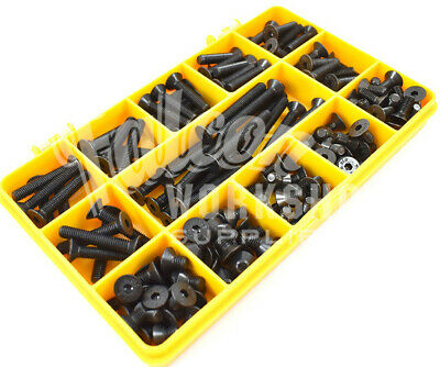 100 Assorted M6 High Tensile Self Colour Black Csk Countersunk Socket Caps Kit