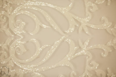 Sequin Lace Fabric By The Yard Grand Night Engagement Gown (White)