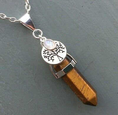 Golden Tigers Eye Point & Tree Of Life Rainbow Moonstone Pendant Wicca Pagan