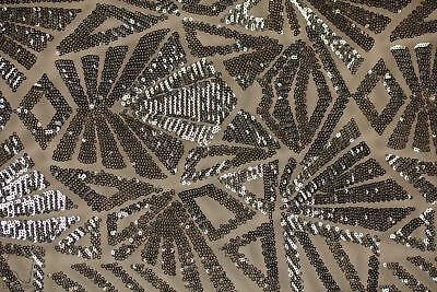 Sequin Lace Geometric Fabric By The Yard Mayan Snowflake 4 Way (Gray)