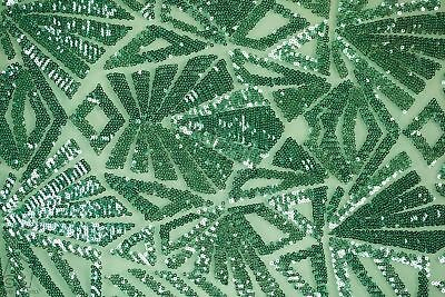 Sequin Lace Geometric Fabric By The Yard Mayan Snowflake 4 Way (Mint)
