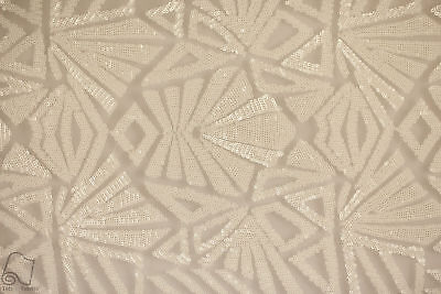 Sequin Lace Geometric Fabric By The Yard Mayan Snowflake 4 Way (White)