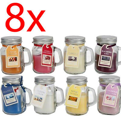 Set Of 8 Scented Candles In Glass Pot Fragrance Home Candle Gift Jar Mood Mason