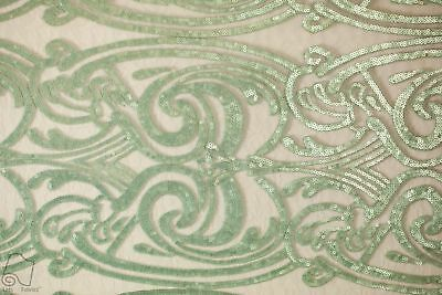 Sequins Lace Fabric By Yard Spiral Angel Tribal Totem Pole Design (Mint)