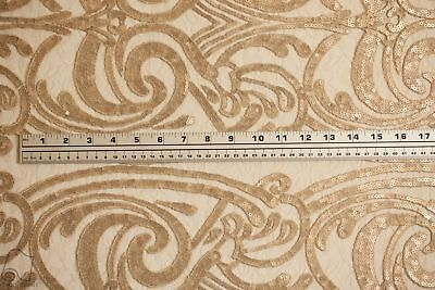 Sequins Lace Fabric By Yard Spiral Angel Tribal Totem Design (Champagne)