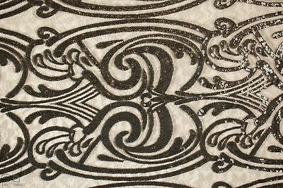 Sequins Lace Fabric By The Yard Spiral Angel Tribal Totem Pole Design (Black)
