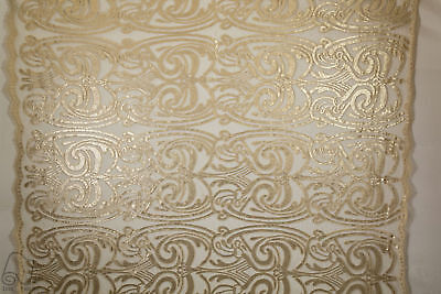 Sequins Lace Fabric By The Yard Spiral Angel Tribal Totem Pole Design (Gold)