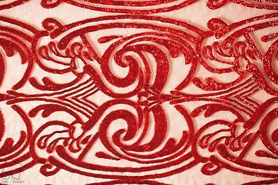 Sequins Lace Fabric By The Yard Spiral Angel Tribal Totem Pole Design (Red)