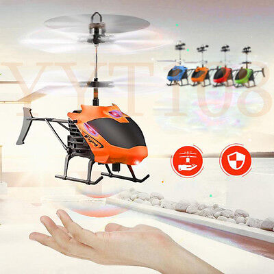 Flying Mini RC Infraed Induction Helicopter Aircraft Flashing Light Kids Toy