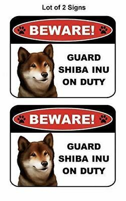 Laminated Dog Sign v1 2 Count Beware Guard Rottweiler on Duty