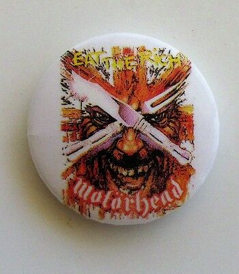 MOTORHEAD EAT THE RICH VINTAGE METAL BUTTON BADGE FROM THE 1980's  NEW OLD STOCK