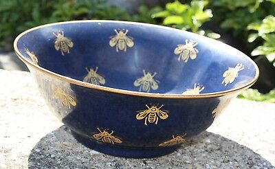Vintage Andrea by Sadek Bumble Bee Large Blue Gold Gilt Bowl