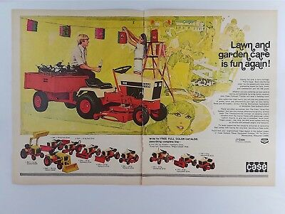 1974 Case Compact Tractor Vintage Print Ad - Riding Lawn Mowers