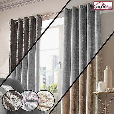 Crushed Velvet Pair Fully Lined Eyelet Ring Top Curtains Ready Made Silver Gold