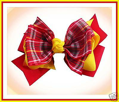 """50 BLESSING Good Girl 3 Layer Boutique 4.5""""  Hair Bow Gingham Clip 49 No."""