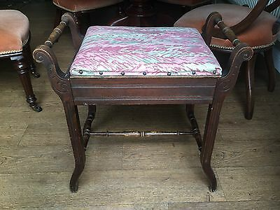 Antique Piano Stool Seat Victorian Edwardian Shabby Chic Restoration Vintage