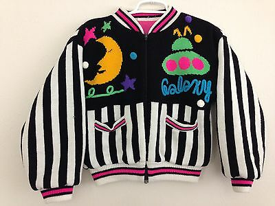 Vintage Striped Galaxy Novelty Cropped Cardigan Sweater-XS or Youth