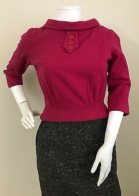 Vintage Pin Up Bombshell Fitted Bullet Sweater Magenta Button Down Back-Small