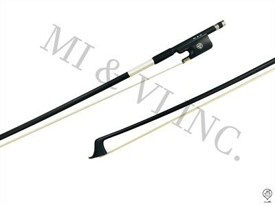 MI&VI Carbon Fiber Cello Bow Ebony Frog 3/4- Round Silver Mount Stick Horse Hair