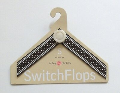 Lindsey Phillips Switch Flops Scarlett Brown/White Designer Straps Small 5/6 NEW