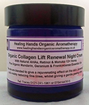 Natural Luxury Organic Renewal Night Cream with AHA, Retinol, Manuka + Collagen