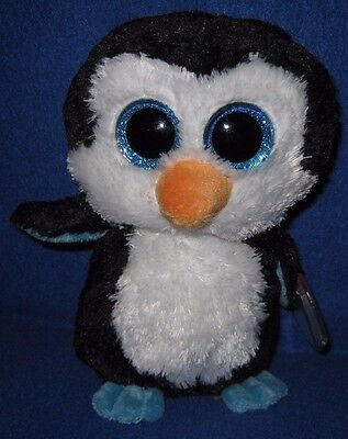"""TY BEANIE BOOS - WADDLES the 6"""" PENGUIN - MINT with MINT TAG - GLITTER EYES"""