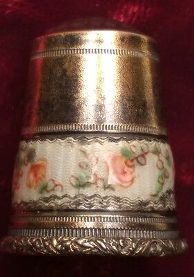Antique silver & enamel thimble with Amythyst top