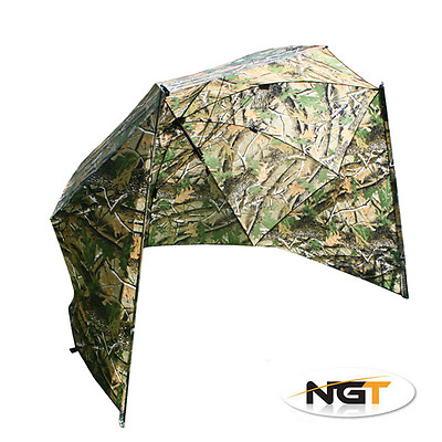 """NGT 50"""" Camo Storm Brolly With Sides Carp Fishing Umbrella Tent With Bag"""