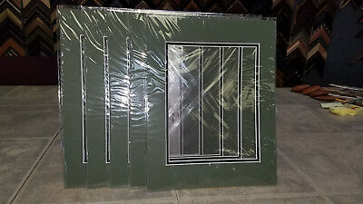 Mat Board Frame- Pack of 25 Hunter Green Top with Black Button 11x14- Sealed