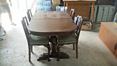 Antique, Art Deco Oak  Extension Dining Table With 4 Chairs