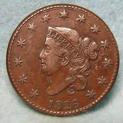 1826 Coronet Head Large Cent Choice XF * Circulated US Coin #1097