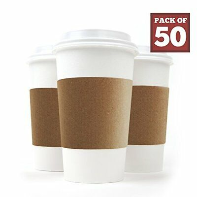 Disposable Paper Coffee Cups - Insulated - with Lids and Sleeves 12 oz 50