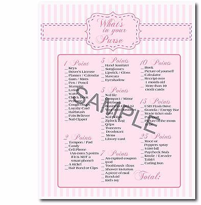 image about Bridal Shower Purse Game Printable titled 4 Gentle Purple Bridal Shower Occasion Printable Game titles, purse match