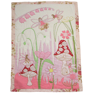 100% Cotton Pocket Stitched Cot Quilt/Wrap - 107x76cms - Powell Craft - Fairies