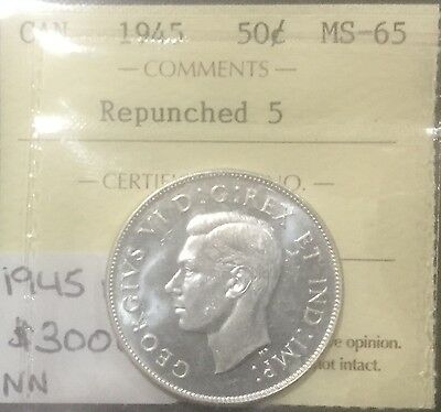 Canada 1945 REPUNCHED  5 50 Cents  ICCS MS 65 Blast White GEM RARE !