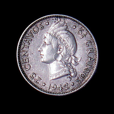 1942 Dominican Republic 25 Centavos silver coin high grade