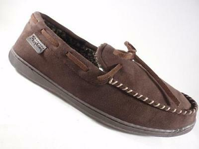 Men's DEARFOAMS Brown Suede Moccasin Slippers Slip On Casual House Shoes NEW