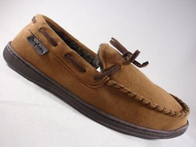 Men's DEARFOAMS Tan Suede Moccasin Slippers Slip On Casual House Shoes NEW