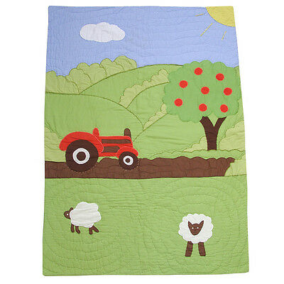 100% Cotton Pocket Stitched Cot Quilt/Wrap - 107x76cms - Powell Craft - Farmyard