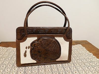 Vintage Leather Purse Hand Tooled Embossed w/ Pony Hair Aztec Calendar Eagle EVC