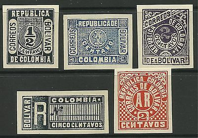 COLOMBIA-BOLIVAR. 1904. Gold Currency Stamps, Proof Set. Unused