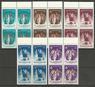 COLOMBIA. 1962. 30th Anniv of The Colombian Boy Scouts SG: 1121/25. MNH 4 Blocks