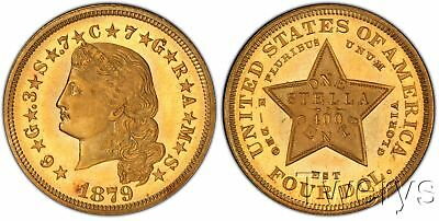 1879 Flowing Hair Gold $4 Stella Pcgs Pr66