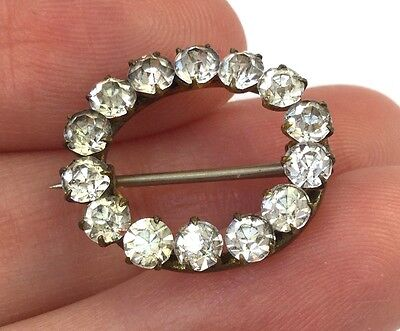 Antique Victorian Clear Rhinestone Brooch Pin Sparkling Costume Jewelry