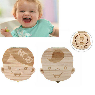 1 PC Baby Tooth Box Organizer Save Milk Teeth Wood Boy Girl Kids Storage Cute