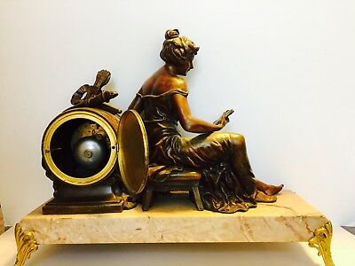 Antique french bronze/marble mantle clock with french woman reading book