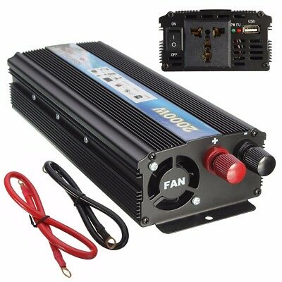 Car Vehicle Power Inverter Adapter Converter 2000W DC 12V to AC 220V USB Black