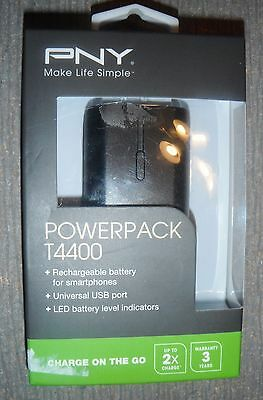 New PNY PowerPack T4400 External Portable Rechargeable Battery pack 4400 mAh